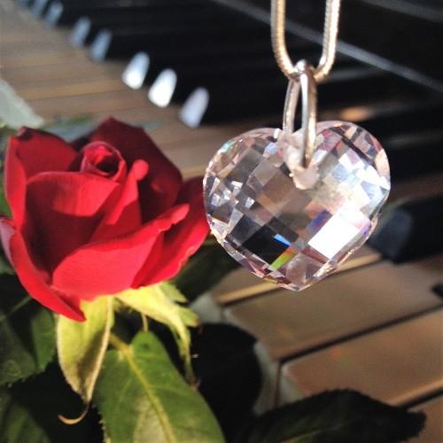 Zirkon Herzanhänger - kristall